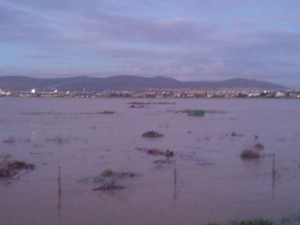 View of the vlei with the RC airfield in the centre thoroughly submerged